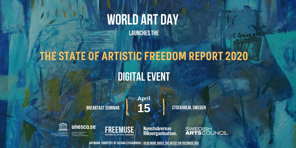 .@SweOECDUNESCO, @Freemuse98, @konstnarerna and  @Kulturrdet invite to a digital seminar discussing the #stateofartisticfreedom on a #paneldiscussion with sector leaders, artists and #musicalperformance, followed by the SAF2020 report.  Join the conversation #artisticfreedomSAF20