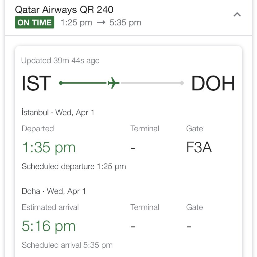 Qatar flight QR0240 departed at 1:35pm. @CanEmbTurkey and the @CanadainISTBL will continue to provide up to date information for 🇨🇦citizens as quickly as possible so they can make informed choices. Make sure to register on ROCA: http://travel.gc.ca/travelling/registration… and follow us.