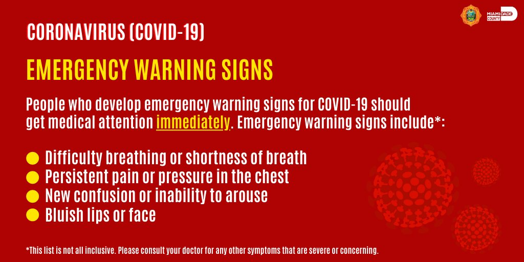 If you're caring for someone sick with #COVID19 and they begin to display emergency warning signs, please seek medical attention IMMEDIATELY.  For more info on how to care for someone sick visit @CDCgov: