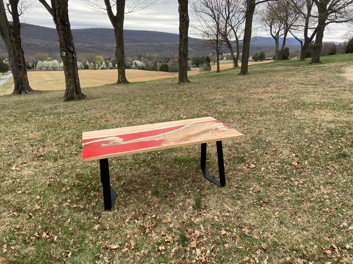 I love this bold request from a customer. Red epoxy! Really makes the maple pop. #RiverTable #Epoxy #woodworking  http://PurpleheartDesigns.compic.twitter.com/gRT1c5w4Dg