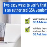 Here are two easy ways to verify that a company is an authorized GSA vendor:   ✔️ Verify prices and details on https://t.co/mt6ffV9bgS   ✔️ Validate the contract number and supplier details in the vendor database at https://t.co/NzZttQdyXj