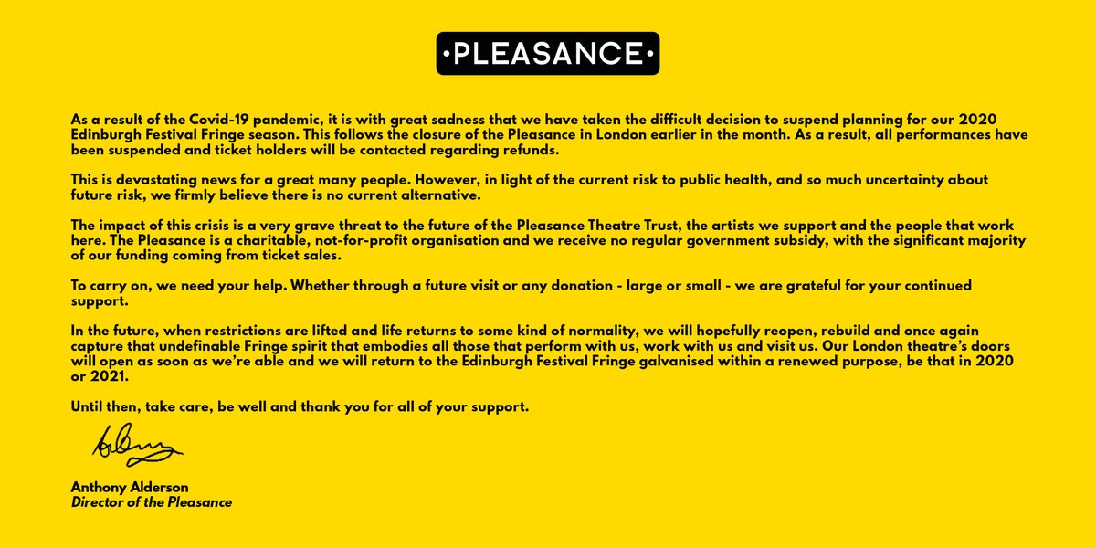 The statement we hoped we wouldn't have to write. #EdFringe