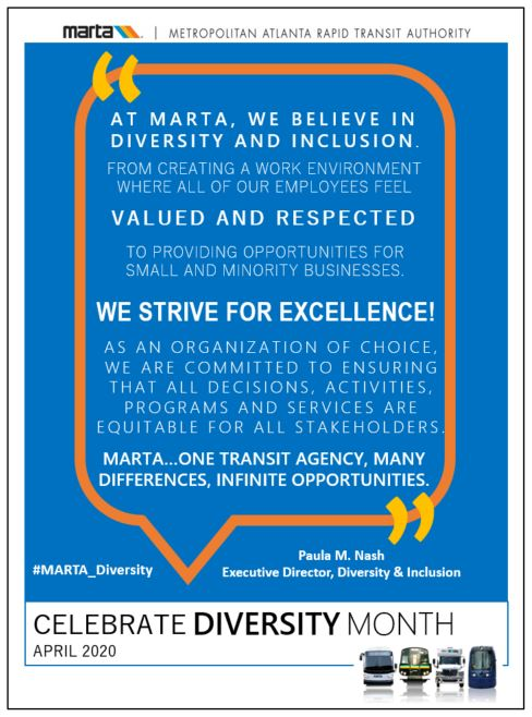 April is Celebrate Diversity Month. In honor of this, MARTA's Office of Diversity and Inclusion would like to share this quote from our Executive Director of Diversity and Inclusion, Paula Nash:  #MARTA_Diversity #Diversity #celebratediversity #diversitymonth #diversityinclusion<br>http://pic.twitter.com/igqCQw5dvw