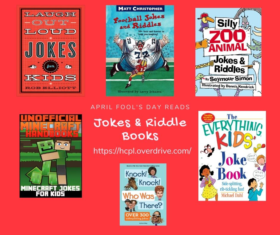 Want some giggles and tickles on April Fool's Day? Go checkout these jokes and riddle books from our Overdrive catalog. Our digital catalog is open 24/7!  #harriscountypl #ebooks #katytx #stayhome #katymomsnetwork  https://bit.ly/2DKvYbi pic.twitter.com/nAK7jq3h5s