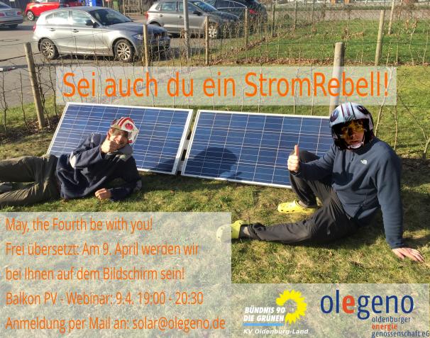 """Ursprünglich haben wir zusammen mit dem Kreisverband der Grünen Oldenburg-Land einen Balkon-PV Workshop in Wildeshausen geplant. Aufgrund der aktuellen Lage haben wir diesen Vortrag jetzt in ein Webinar verwandelt! Anmeldung per Mail an """"solar@olegeno.de""""  http://ow.ly/flgf50z29KIpic.twitter.com/7OCkkukY4L"""