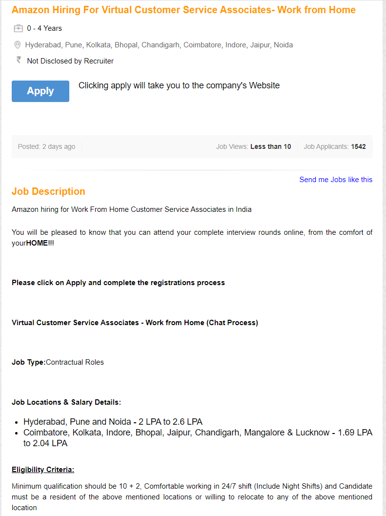 Á•• On Twitter Amazon Is Hiring For Wfh Vcs Profiles Cust Service In Delhi Pune Chandigarh Jaipur Noida And A Bunch Of Other Cities Decent Money 2 2 6 L Med Insurance Of