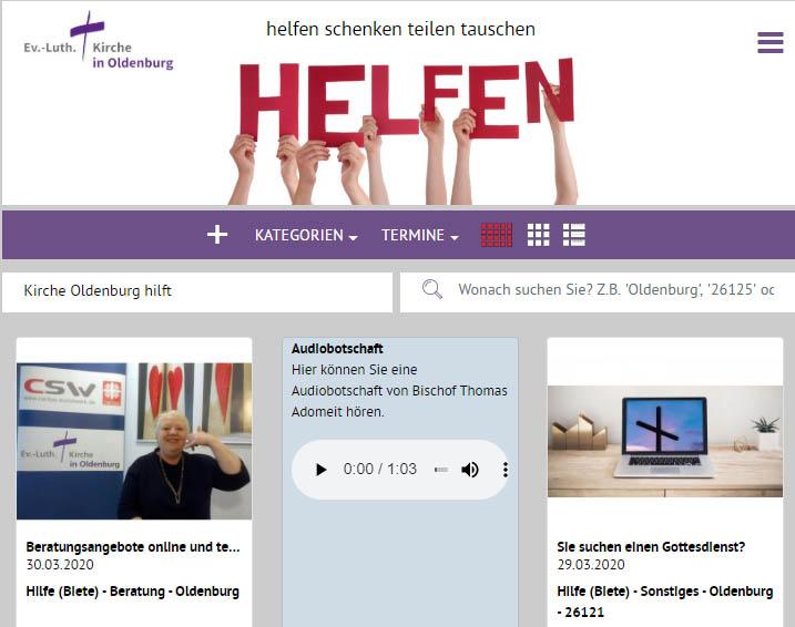 """""""Kirche hilft"""" heißt es ab sofort aus #Oldenburg.  """"Vielleicht wird jemand gesucht, der telefonisch die Zeitung vorliest"""", so die Kirche in Oldenburg. Oder zuhört. Oder einkauft, oder ... http://www.kirche-oldenburg-hilft.de  #ez_heute #coronadeutschland Foto:Ev.-Luth. Kirche in Oldenburg pic.twitter.com/XakeuWT1rk"""
