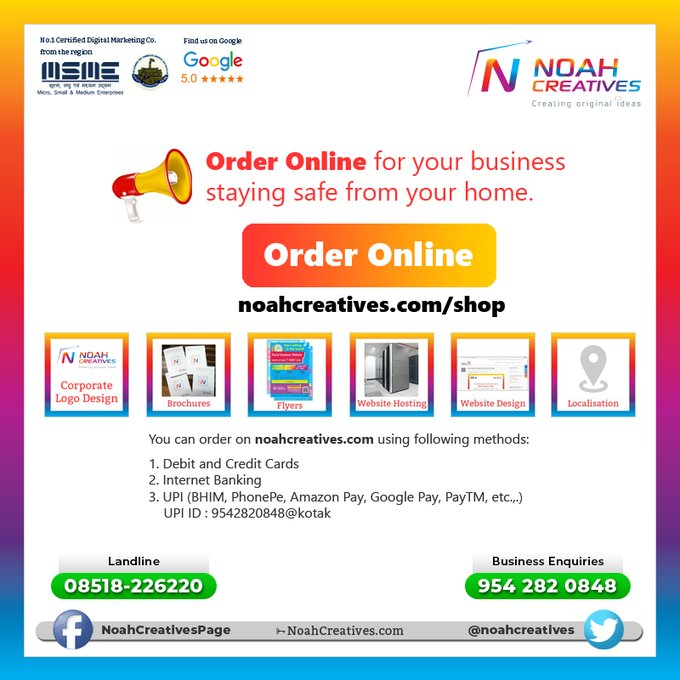 Noah Creatives Order Online Post