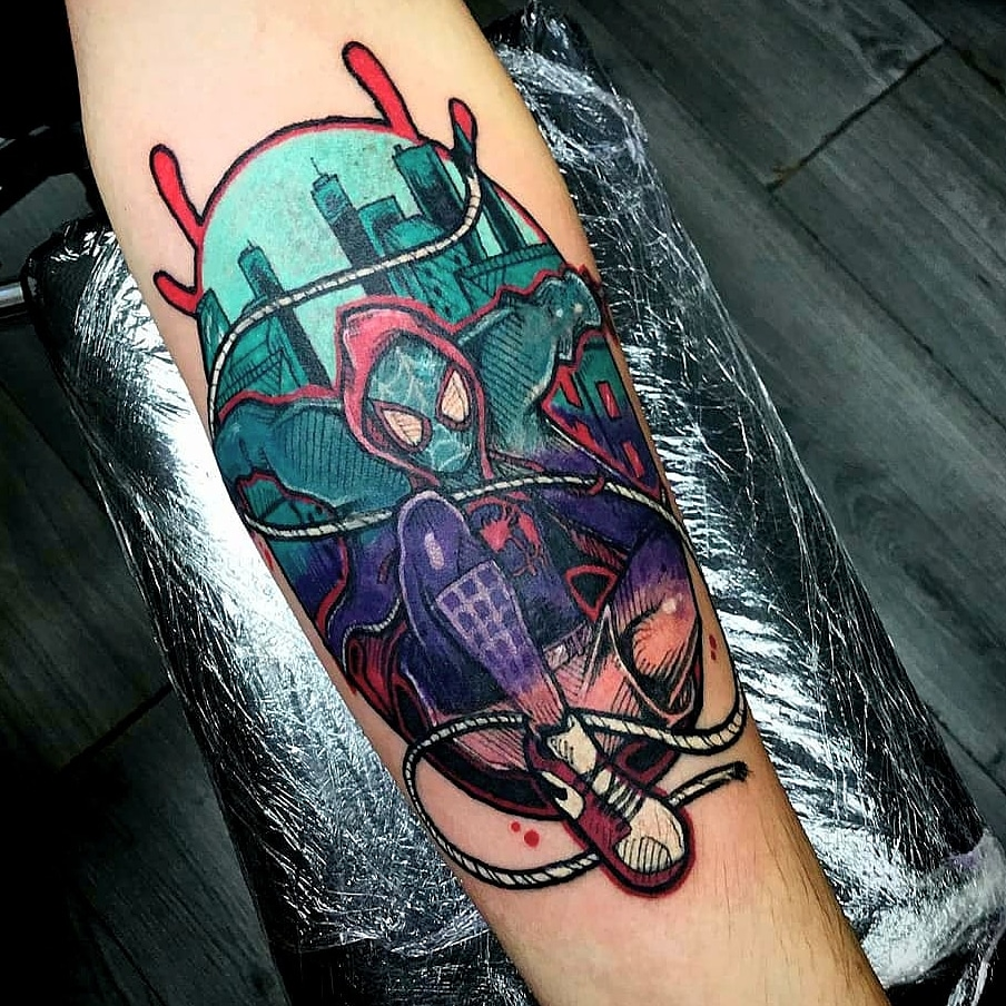 Miles Morales Spider-man. Thwip! Who's your favourite Spidey?  #tattoo #tattoos #tattooing #tattooed #tattooer #SpiderMan #spidey #milesmorales #sketch #drawing #illustration #tattooist #comicspic.twitter.com/T66d2VXWhN