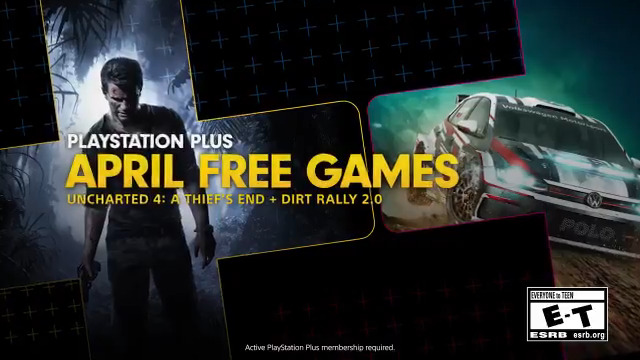 Uncharted 4: A Thiefs End and Dirt Rally 2.0 are your free PS Plus games for April:  http://play.st/3bKCYGu