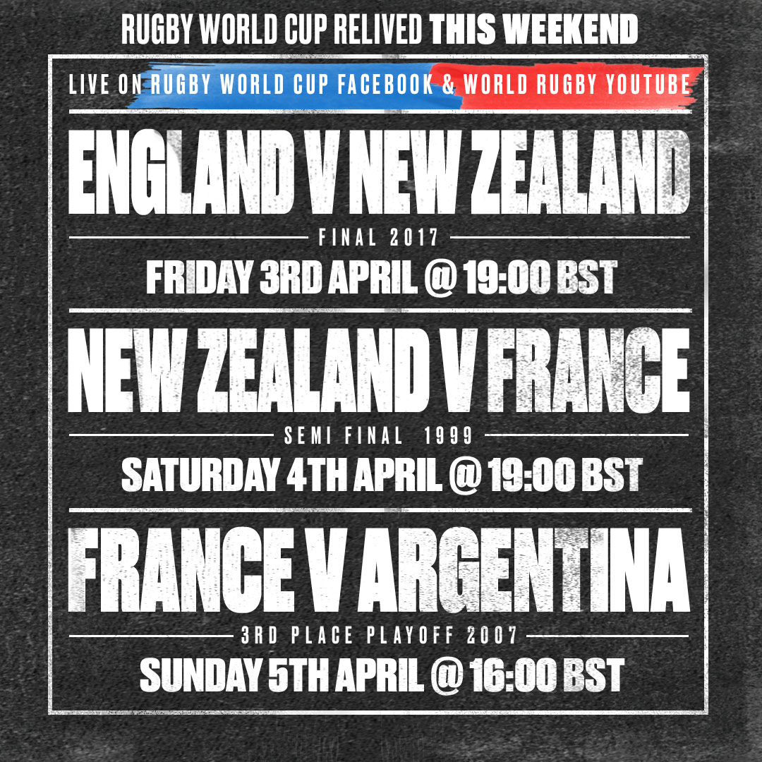 test Twitter Media - We've got you covered again this weekend 🏉  RWC 2017: 🏴󠁧󠁢󠁥󠁮󠁧󠁿 🆚 🇳🇿 📆 Friday, April 3 🕖 19:00 BST  RWC 1999: 🇳🇿 🆚 🇫🇷 📆 Saturday. April 4 🕖 19:00 BST  RWC 2007: 🇫🇷 🆚 🇦🇷 📆 Sunday, April 5 🕖 16:00 BST  📺 Rugby World Cup Facebook /  World Rugby YouTube https://t.co/7YHoiLXgzn