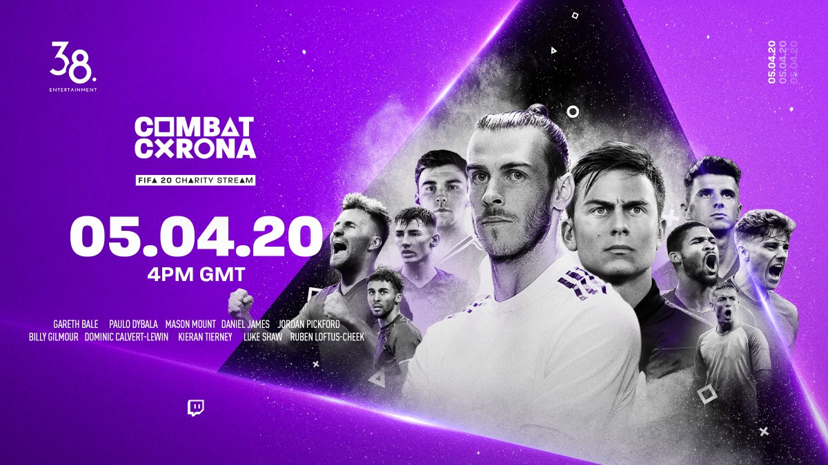 ITS CONFIRMED! 🎮⚽️ Well be live on @Twitch this Sunday from 4PM GMT. ➖Competitive matches ➖Q&A's ➖Prizes ➖Giveaways ➖& more. Lets raise some money to #CombatCorona 💜 combatcorona.gg