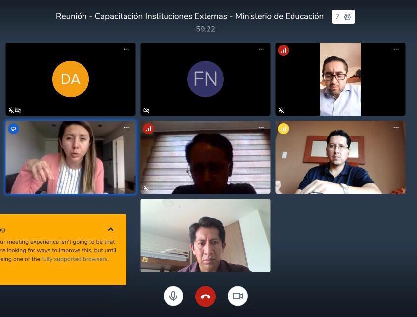 La @PGEcuador sigue trabajando mediante videoconferencia, en esta ocasión un equipo multidisciplinario participa en la planificación de asesoría legal y capacitación para @Educacion_Ec #TeletrabajoEc #QuédateEnCasapic.twitter.com/iHvSMmLadr