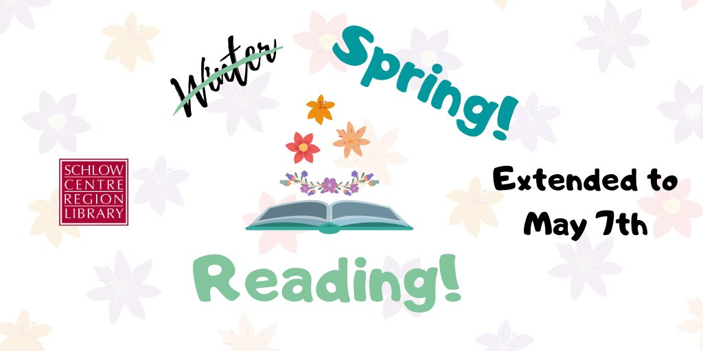 Our adult & teen #WinterReadingClub has turned into our #SpringReadingClub with an extended deadline of MAY 7 to record your reading & earn chances to win fabulous prizes. Visit https://www.schlowlibrary.org/news/2018-12-23/2020-winter-reading-continues… for details & http://reading.schlow.org to register and record your books! pic.twitter.com/xzmtTyutiN