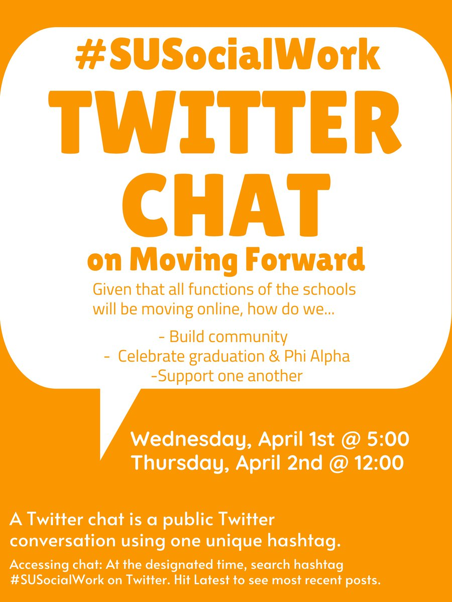 """We want to hear from you!.. """"See"""" you tonight at 5pm  Thursday at 12:00pm for the Twitter chat on Moving Forward together. #SUSocialWork #SocialWorkStrong #SocialWork  #BuildingCommunity #MovingForward #USvPandemic #CantStopWontStoppic.twitter.com/ty6OK0Brni"""