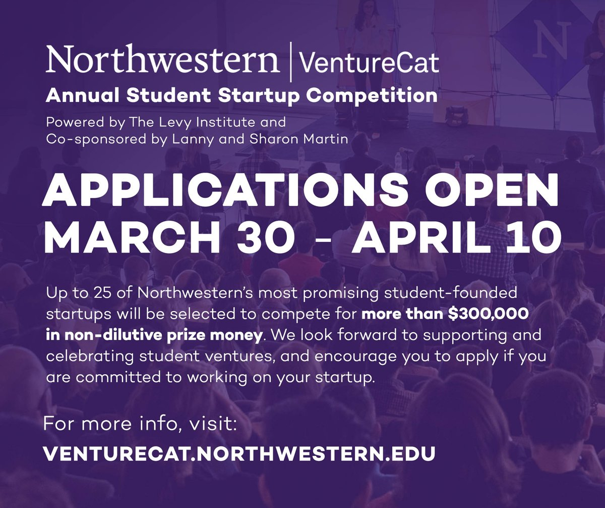 #VentureCat2020 is ON! Up to 25 of @NorthwesternU's most promising student-founded startups will be selected to compete for more than $300,000 in prize money this year.  Head to http://venturecat.northwestern.edu for more details on applying, the virtual format, prizes, and eligibility! pic.twitter.com/k4Vrevhxuy