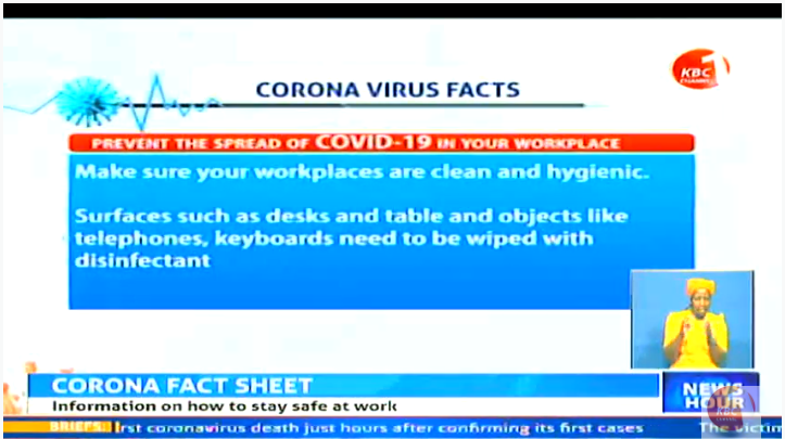What are some of the simple ways to prevent spread of COVID 19 in your work place? #KBCNewsHour ^CW     Stream--> https://kbc.co.ke/kbc-live/pic.twitter.com/6329j4kCQJ