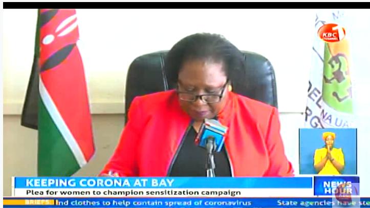 The Maendeleo ya Wanawake Organization is calling on Kenyan women to adhere to government regulations and help in the war against the Coronavirus pandemic. #KBCNewsHour ^CW     Stream--> https://kbc.co.ke/kbc-live/pic.twitter.com/KMe36YjNJP