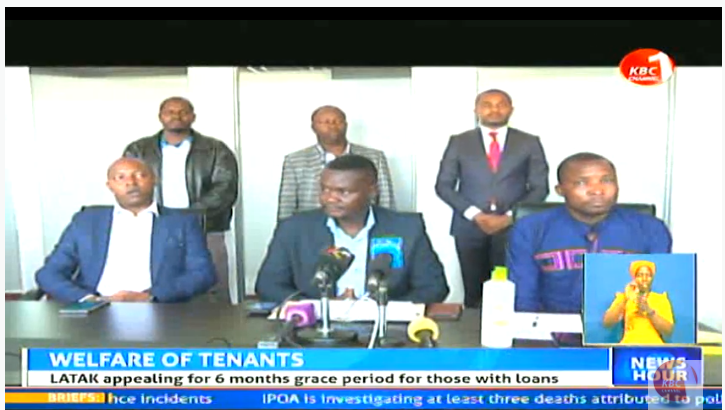 Landlords and Tenants Association of Kenya (LATAK) has urged landlords to offer rent waiver for three months following the economic disruption caused by the corona virus pandemic. #KBCNewsHour ^CW     Stream--> https://kbc.co.ke/kbc-live/pic.twitter.com/cbfj77dQnf
