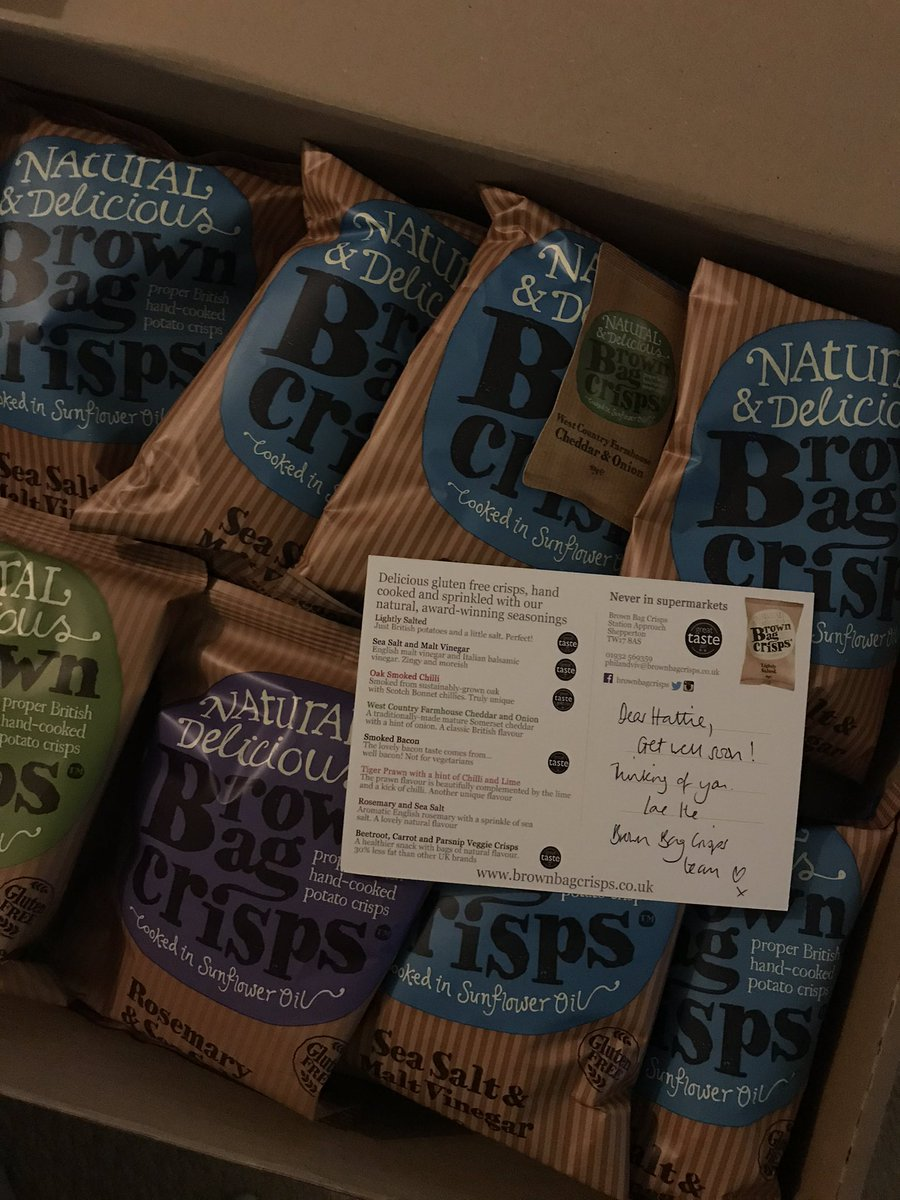 I swear to god I was not angling for free crisps when I tweeted this, however I am absolutely THRILLED to have received some! Thank you @brownbagcrisps and will you marry me? (Also how did you get my address?! Never mind) https://t.co/yvialp0wUk https://t.co/hBL3kSaXNM