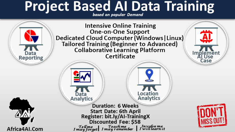 Register for Project Based AI Data Training. See more information in the post. Register here: http://bit.ly/AI-TrainingX  #dataanalytics pic.twitter.com/vLqIH6qHq2