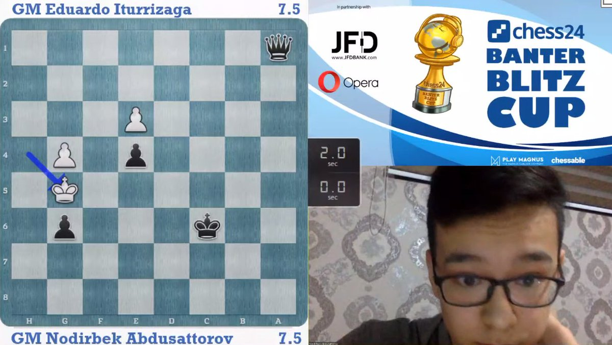 test Twitter Media - Abdusattorov seemed to be cruising to match victory but he  loses control and loses on time and now whoever wins the next game wins! https://t.co/FCl1LAtlE9  #c24live #BanterBlitzCup https://t.co/ai88HZZHoA