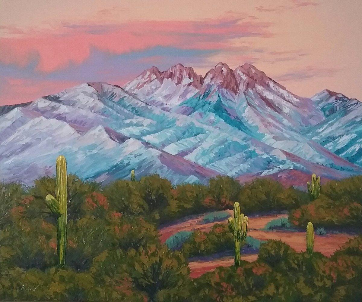 "Newest work from Cheryl's Art Studio, ""WINTER TWILIGHT"" 24x36, Oils on canvas, $450. + S&H, #ForSale #artists #fourpeaks #desert #oilpaintings #sunsets #winter #twilight #Arizona"