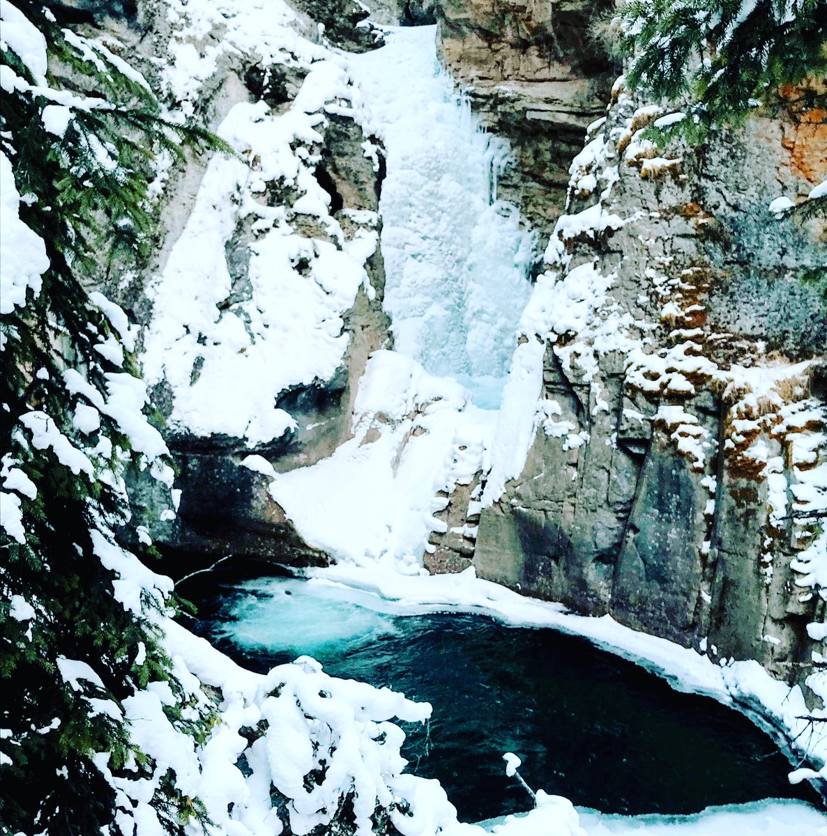 The ice and water in Johnston Canyon have the most amazing colours.  . .  #johnstoncanyon #banff #canada #alberta #banffnationalpark #travel #hiking #explorealberta #waterfall #nature #travelalberta #waterfalls #hike #canadianrockies #mountains #explore #banffcanada #beautifulpic.twitter.com/xpM61TP1eb