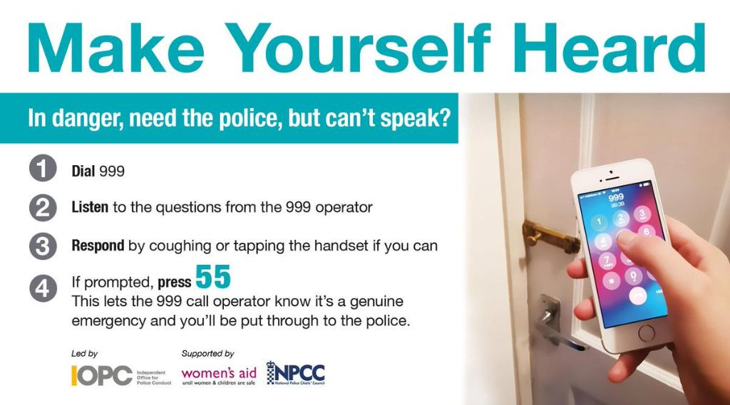Learn more about the The Silent System which enables a 999 mobile caller who is scared to make a noise or speak, to press 55 when prompted to inform police they are in a genuine emergency. #MakeYourselfHeard #SilentSolution