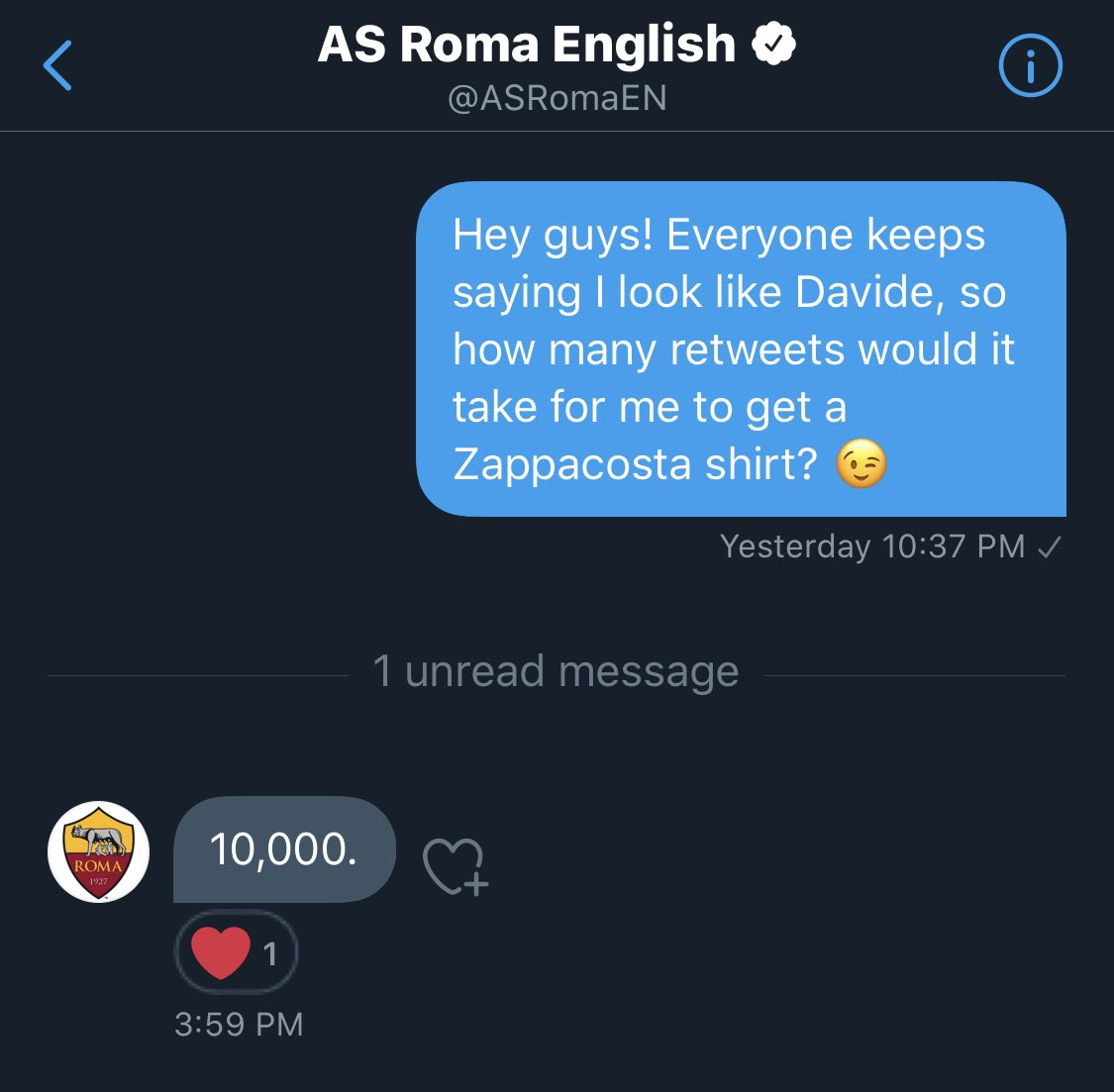 10,000 retweets and I get a Zappacosta shirt from @ASRomaEN! Please help out guys! 🙏🏻