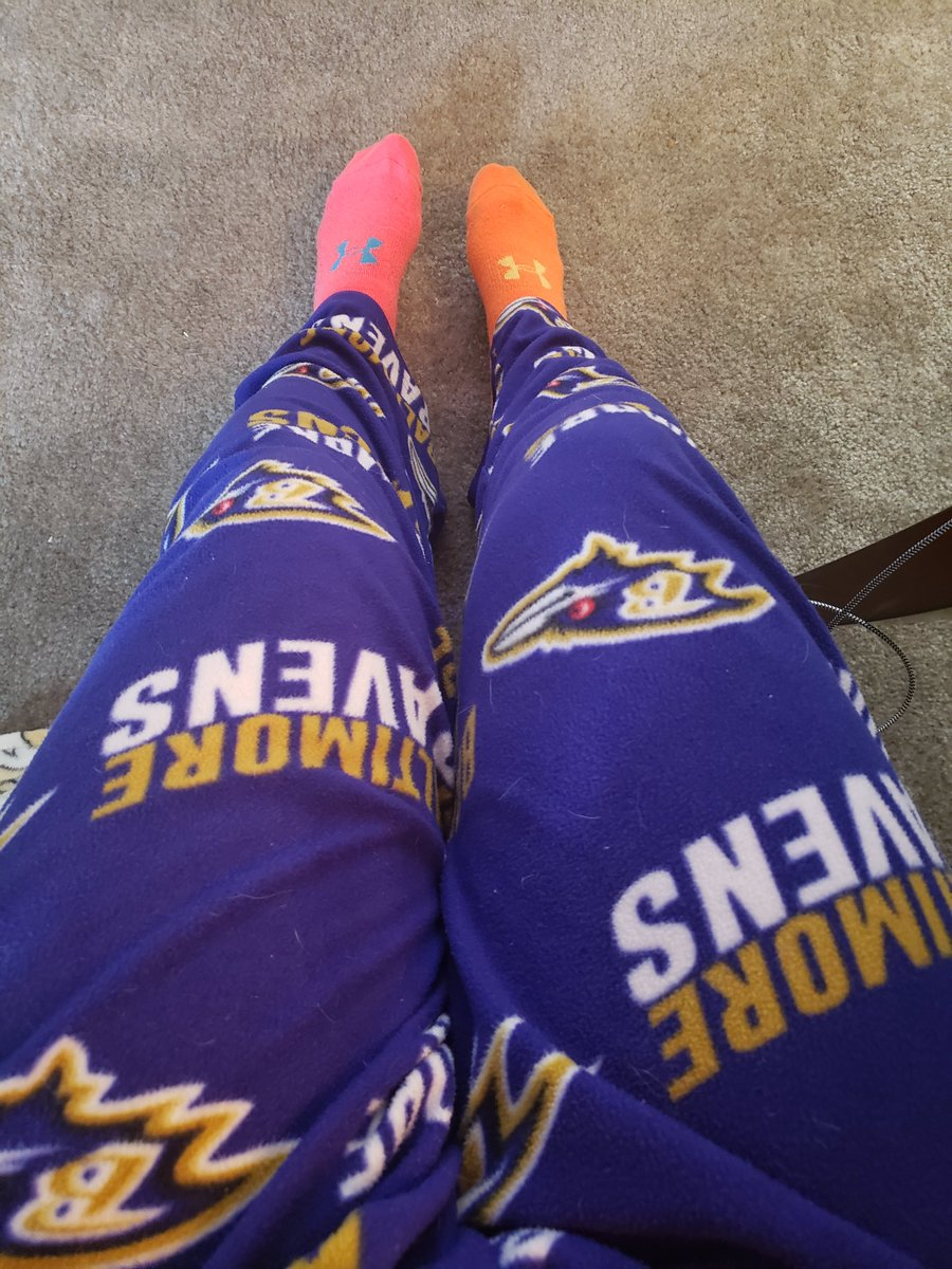 Day 3 #WorkFromHome fashion... Baltimore @Ravens pajamas (with lots of #dog hair) and mismatched @UnderArmour socks. What are you wearing #workingfromhome during the #COVID19 #coronavirus outbreak?  #BaltimoreRavens #workingremotely #StayAtHomeOrder #StayAtHomeAndStaySafe