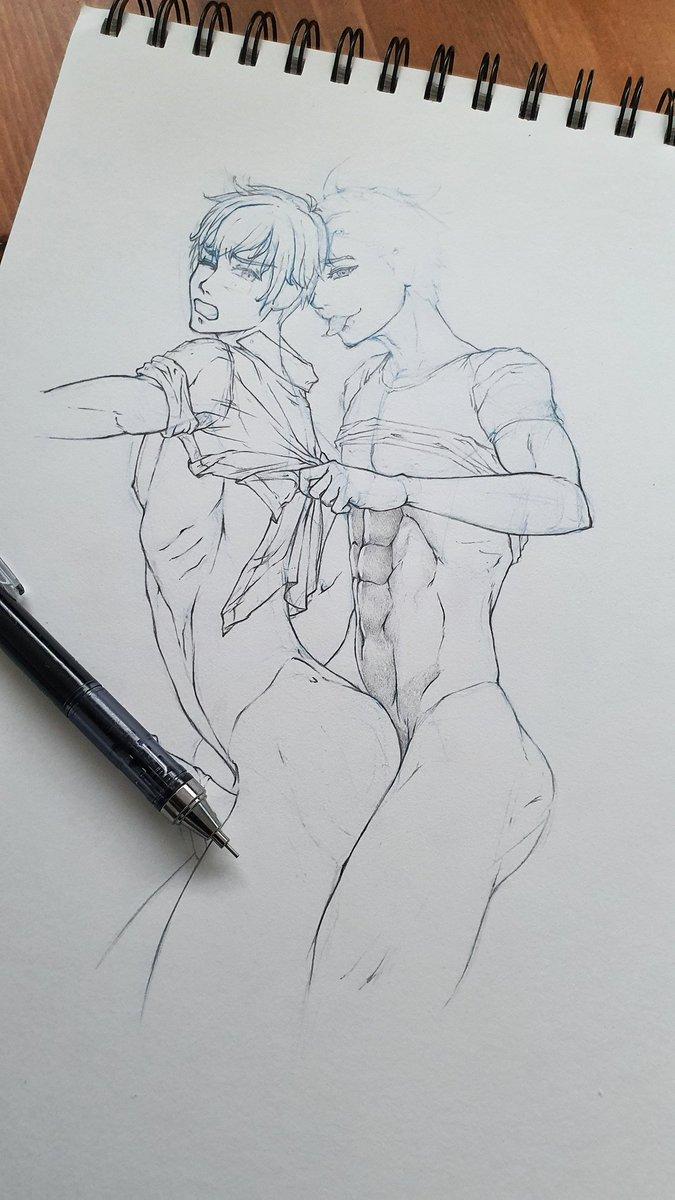 Tiempo de dibujo en momentos de #CoronavirusARV (work in progress)  Qué os parece? 😜😏  #yaoi #drawing #gay