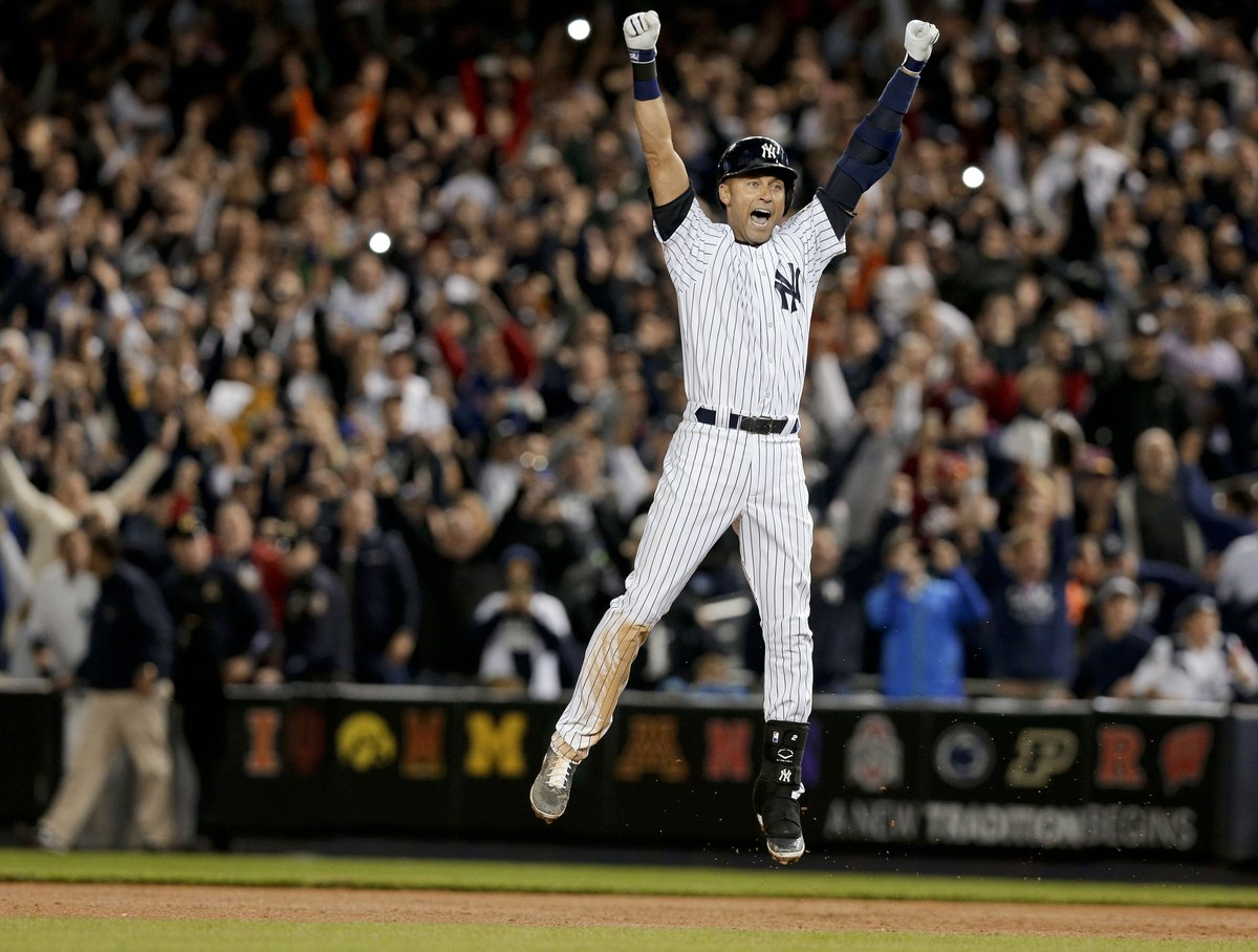 Derek Jeter played in 2,747 regular-season games.   He played in just 4 games where the @Yankees were eliminated from postseason contention (Via @SlangsOnSports).   Stream Jeter's last home game on @MLB channels tonight at 7pm ET.
