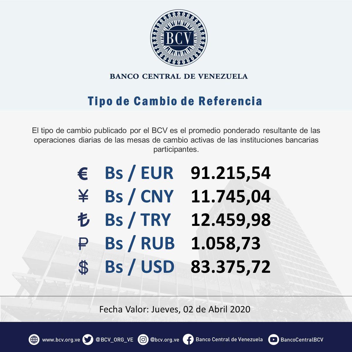 Atención|| El tipo de cambio publicado por el BCV es el promedio ponderado de las operaciones de las mesas de cambio de las instituciones bancarias. Al cierre de la jornada del miércoles 01-04-2020, los resultados son:  #MercadoCambiario #BCVpic.twitter.com/9Hc1Le9jlZ