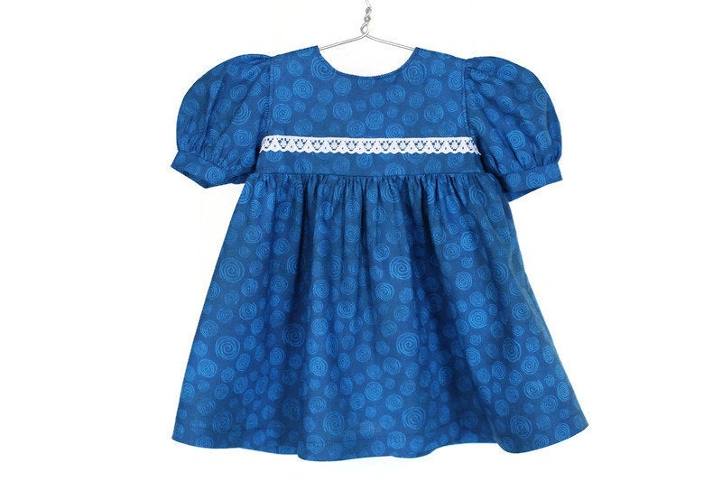 Excited to share the latest addition to my #etsy shop: Royal Blue Baby Doll Dress with Swirl Print, Birthday Party Gift, Fits Bitty Twin and 14, 15, or 16 inch Baby Dolls, Free US Shipping  #toys #dollclothes #dresses #blue #handmadelove