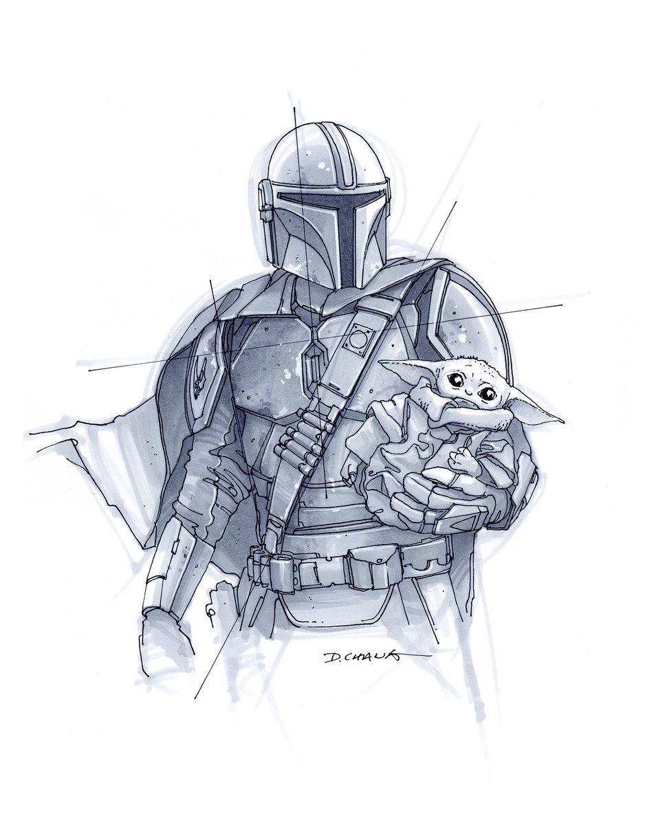 The Mandalorian and The Child 💫 Sketch by Doug Chiang