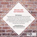 Image for the Tweet beginning: 📣PAD Members! Deadline extended! Proposals