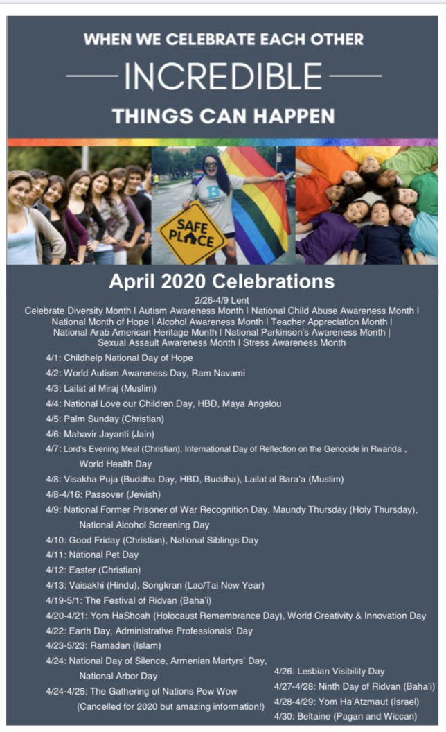 """Welcome, April. It's #CelebrateDiversity Month! Which is amazing because we do this everyday:) """"Welcoming, Serving, Celebrating ALL, All Year long,"""" @BurrellCenter #BurrellPride #BurrellInclusion<br>http://pic.twitter.com/eIbMiMvcZa"""