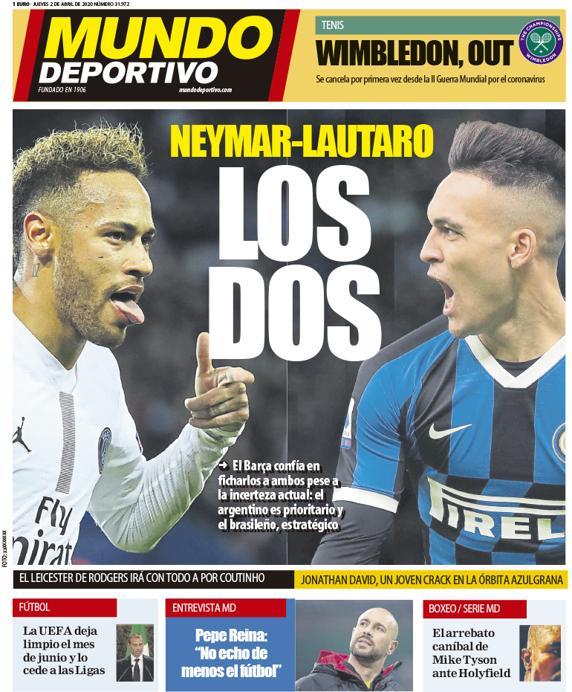 🗞️ La portada del jueves 2 de abril 💥 Neymar - Lautaro: LOS DOS mundodeportivo.com/elotromundo/ac…