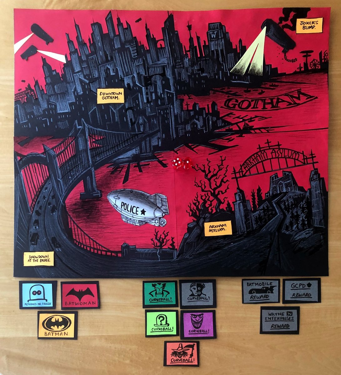 "Isolation self-horn toot: Yesterday was Zander's birthday, and we made him a board for a role-play game based on the aesthetic of ""Batman: The Animated Series"". Cut out of black card, a la Bruce Timm, and of course the Two-Face curveball card is 50/50 odds on the dice. #Story pic.twitter.com/A6UDiZxF90"