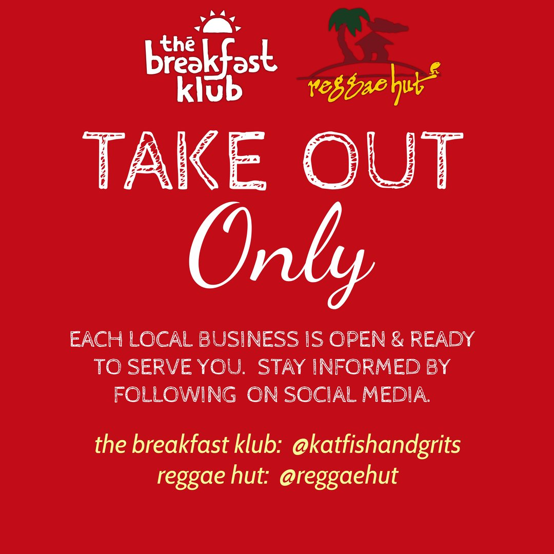 Support our sister concepts The Breakfast Klub and Reggae Hut! They are OPEN and READY to serve you and your family.   Pick up your order or get it delivered with Favor.  For the latest updates, be sure to follow them on social media.  #eatlocal #supportsmallbusiness https://t.co/xCiV46sg3L
