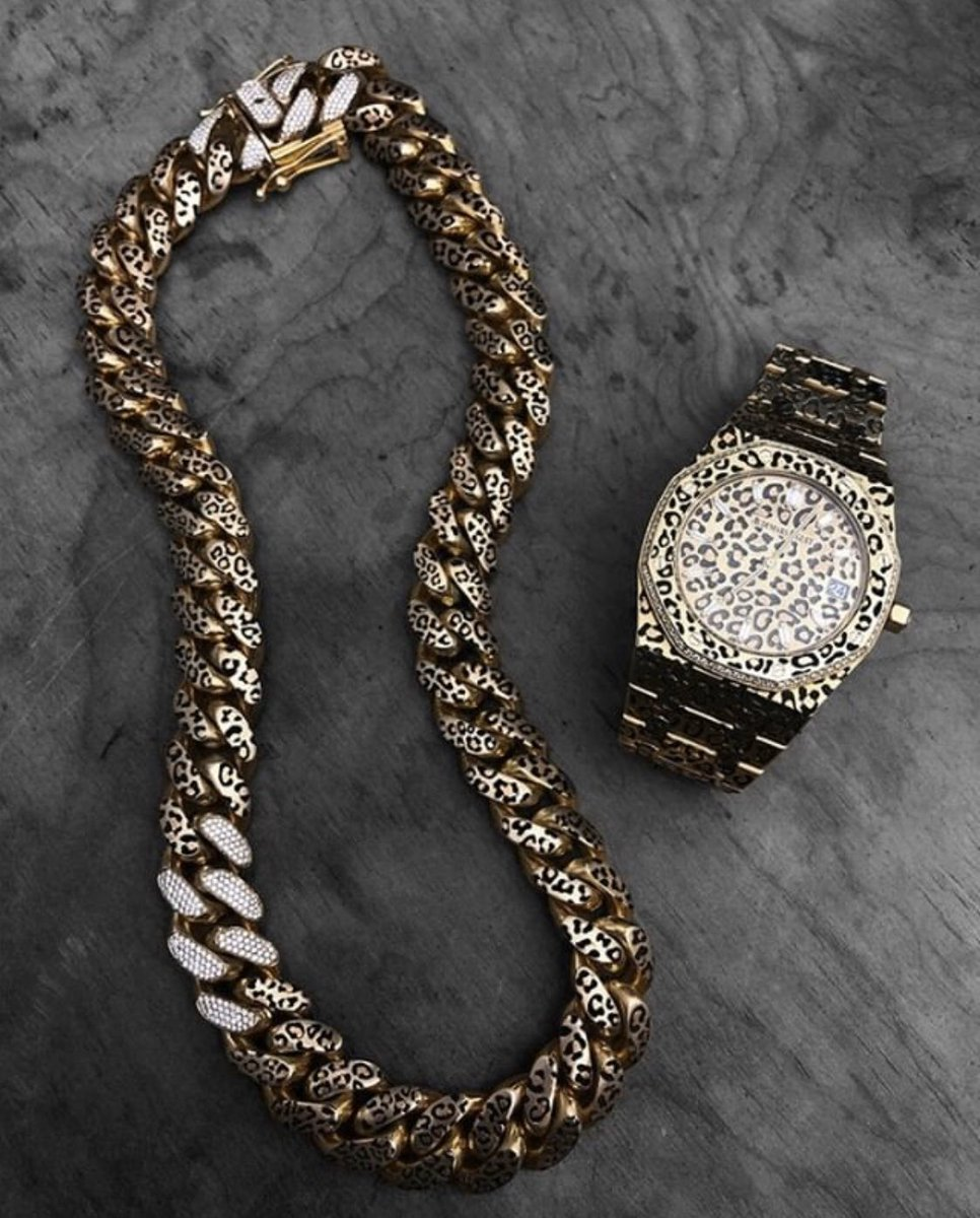 There's no such thing as a statement too bold. Wild Coat Cuban link chain and Audemars Piguet Royal Oak.  SOLD OUT . . . #madeinseattle #handmadejewelry #artisanjewelry #oneofakindjewelry #jewelrymaking #jewelryartist #leopardprint #audemarspiguet