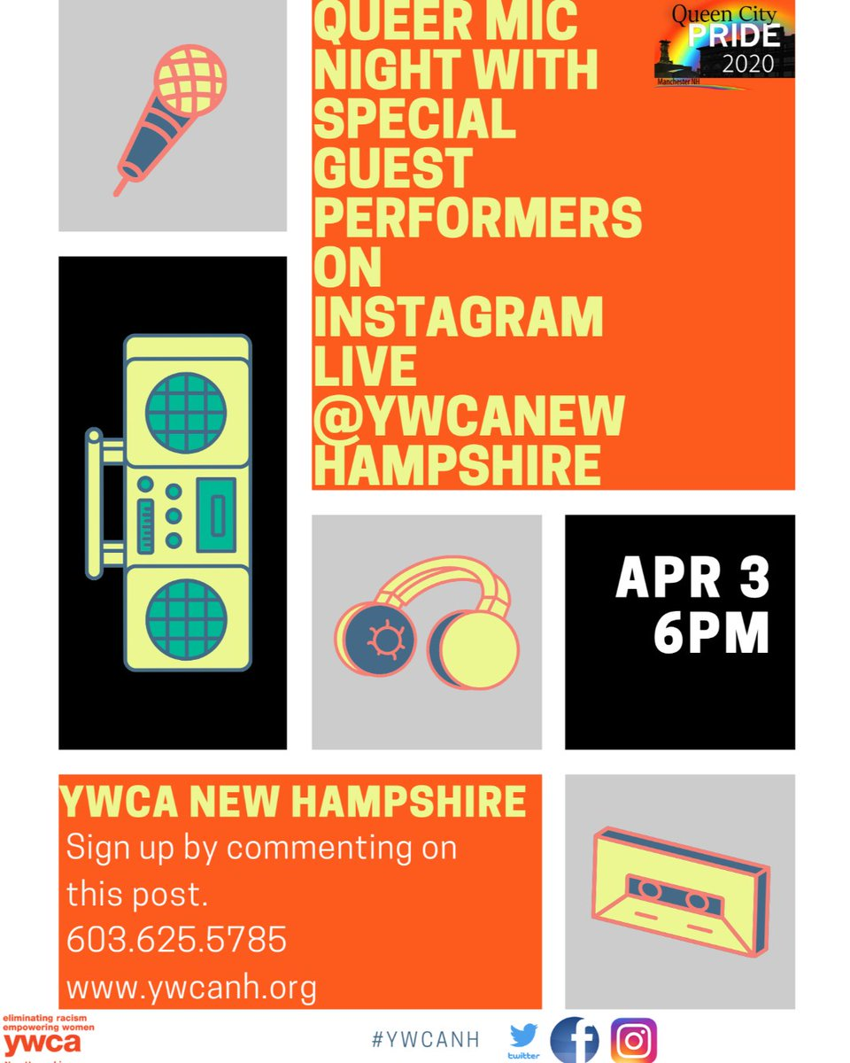 Very excited to host our #Queer  #Youth  #OpenMic  Night on #InstagramLive   Friday April 3, 6pm Respond to these posts if you want to read a piece or perform comedy or a song. Check out our website for more informaiton  http://www.ywcanh.org   #ywcanh
