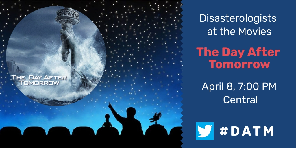 Thanks so much for joining us tonight for Disasterologists at the Movies! Join us April 8th at 7:00 PM Central, for The Day After Tomorrow! We will see you then! Don't forget to tip your servers on the way out. #DATM pic.twitter.com/khLssp7GRi