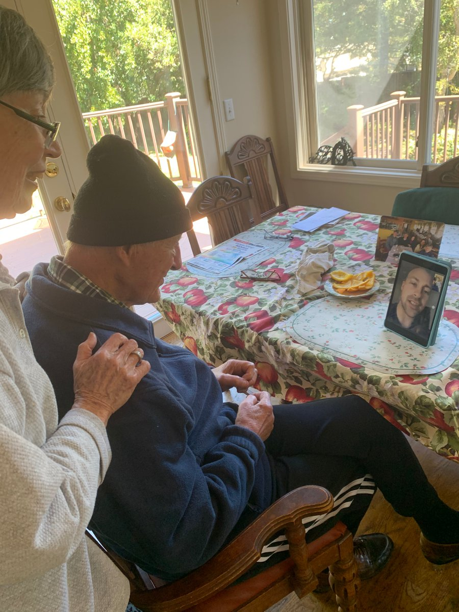 My grandparents have been super bummed out about being cooped up. Today, they learned how to FaceTime to connect with everyone – my brother (their first grandkid, living in NYC) pictured here! pic.twitter.com/Z1mA9XuBLY