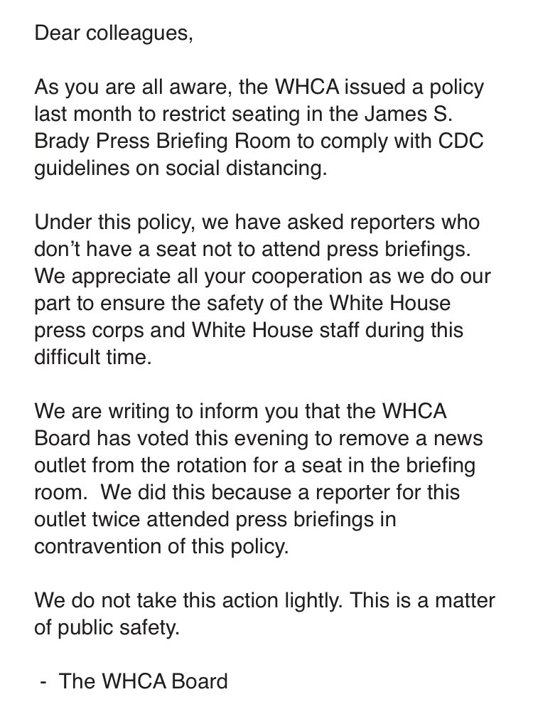 WHCA Statement on Removing News Organization from News Briefing Seat Rotation