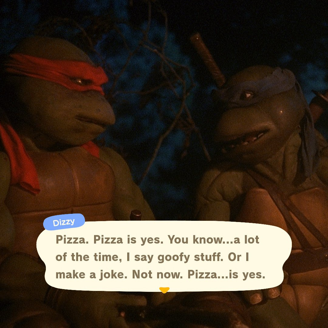 Dizzy in Animal Crossing talking about pizza politics has TMNT energy