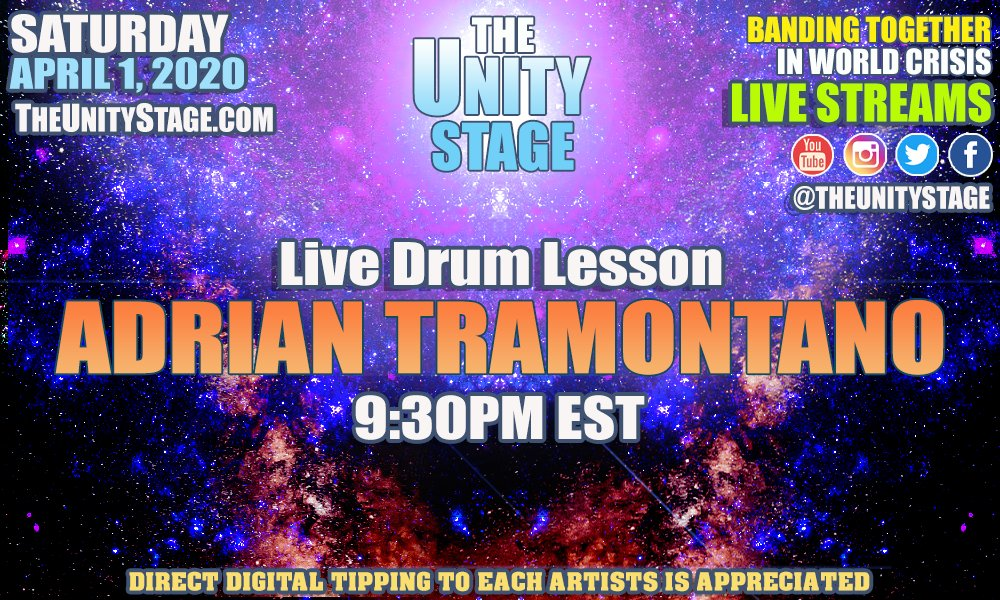 "Tune in tonight, Wednesday, April 1, 2020 at 9:30pm EST for Adrian Tramontano as he guides you through more intricacies of the drum. Remember to consider a digital tip via Venmo - ""adrian-tramontano"" #StayHomeBands #livemusic #streamingmusic #drumming http://TheUnityStage.com"