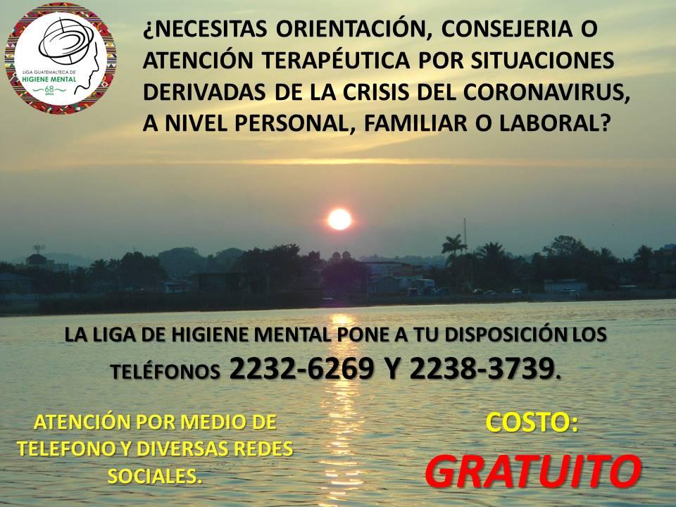 test Twitter Media - La Liga Guatemalteca de Higiene Mental brindará atención terapéutica gratuita por teléfono y redes sociales, ante la emergencia sanitaria del coronavirus COVID-19. https://t.co/fYp6dh6BaD