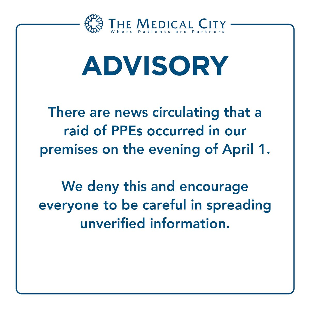 JUST IN: The Medical City denies that a raid of personal protective equipment (PPE) happened in its premises, urges the public to be cautious in spreading news | via @askTMC   Follow our live blog for more updates: https://t.co/CG4XSxxLCG https://t.co/ivxITlg4ex